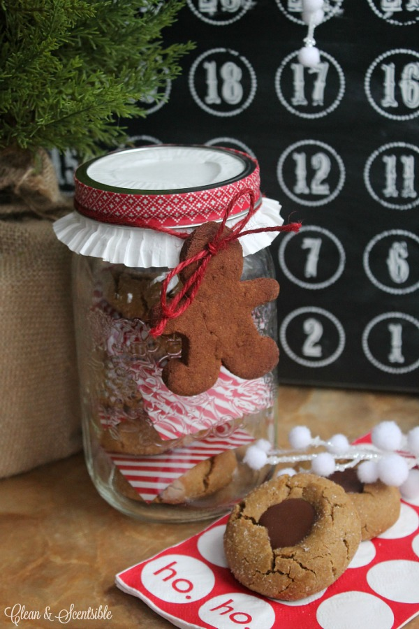 Gingerbread chocolate thumbprint cookies. I love this packaging!