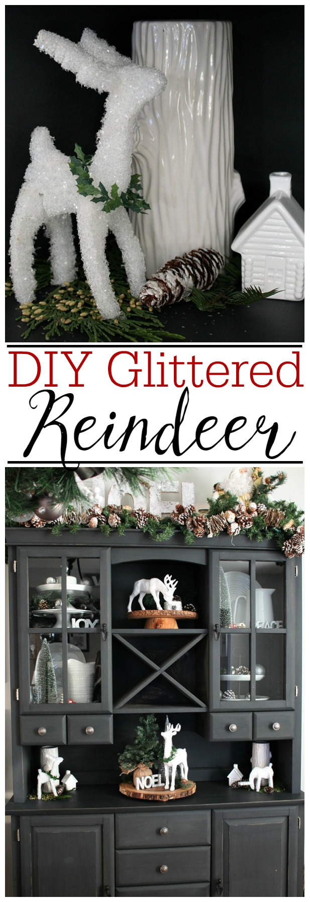 Make your own glittered reindeer from foam! Love these!