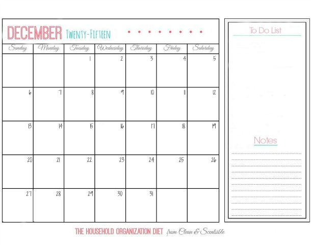 Blank December calendar for The Household Organization Diet