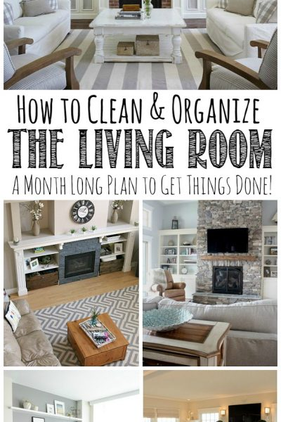 Follow this month long plan to get your living room cleaned and organized from top to bottom! Free printables included.