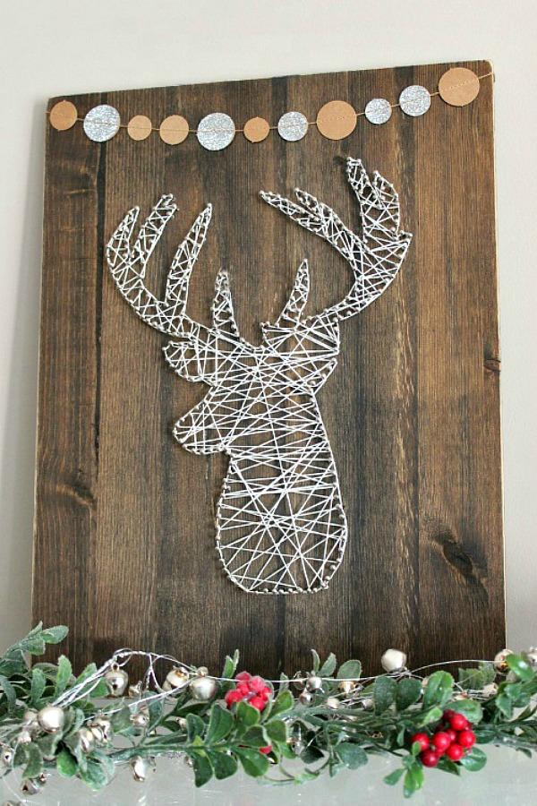 Rustic reindeer string art Christmas project.