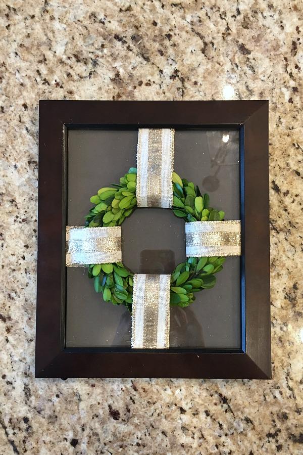 Framed reindeer wreath. Cute idea and simple to do!