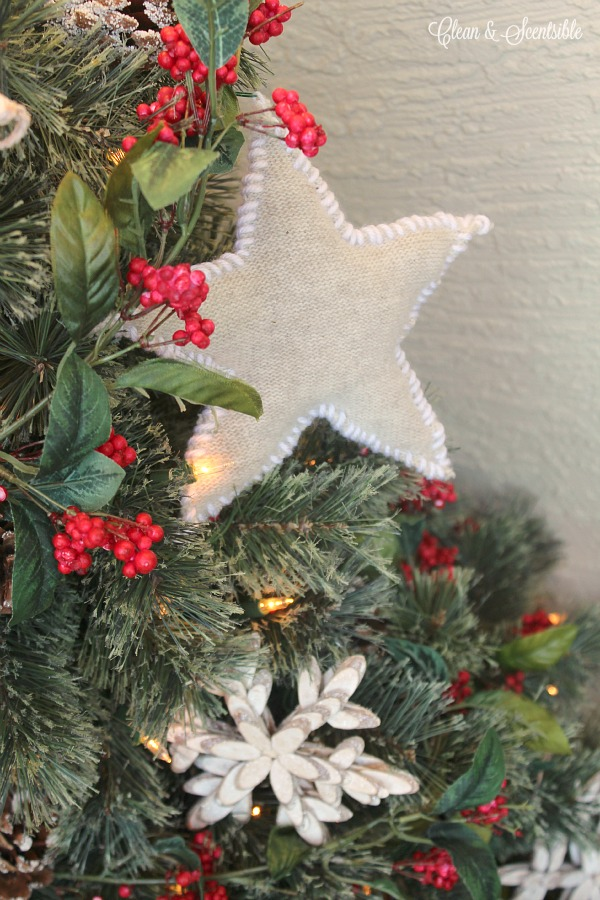 Use some old sweaters to make these cute rustic sweater star Christmas ornaments.