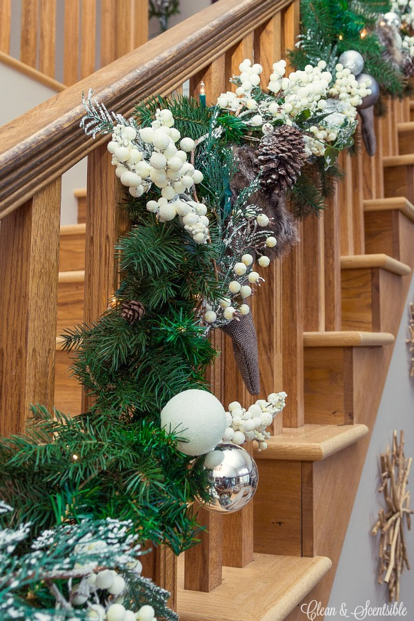 How to hang a garland on the stairs clean and scentsible How to hang garland on a christmas tree