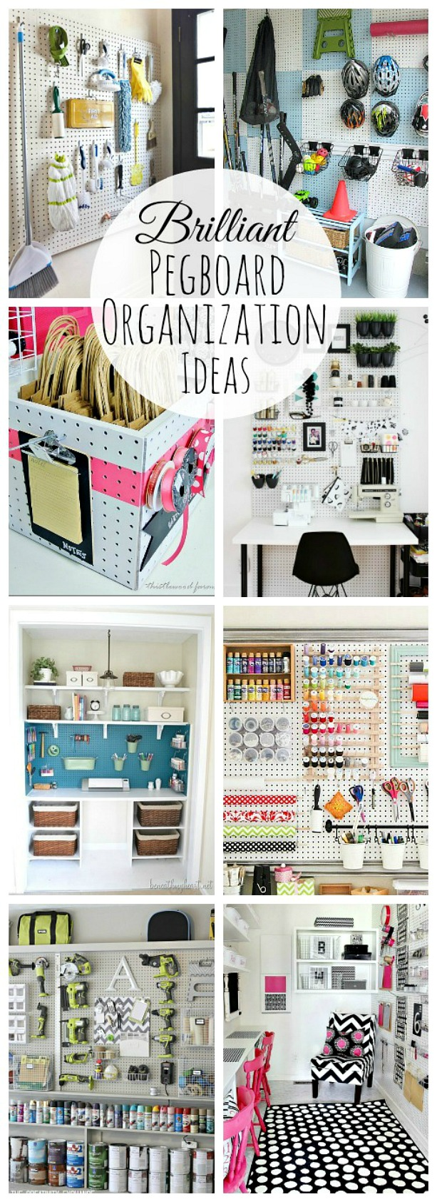 So many ways to organize your stuff with pegboard! Stylish, functional, and inexpensive organization!