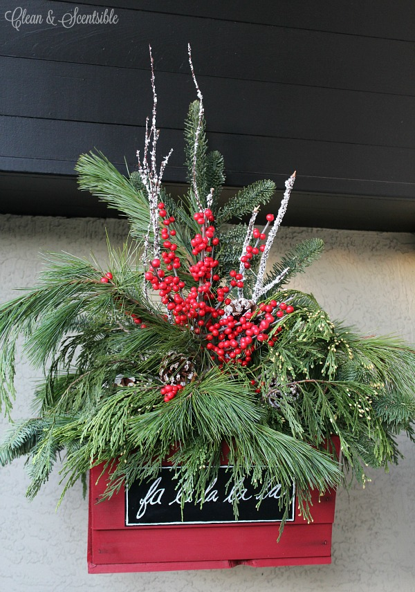 pretty rustic christmas hanging baskets with fresh greenery - Fresh Christmas Greenery