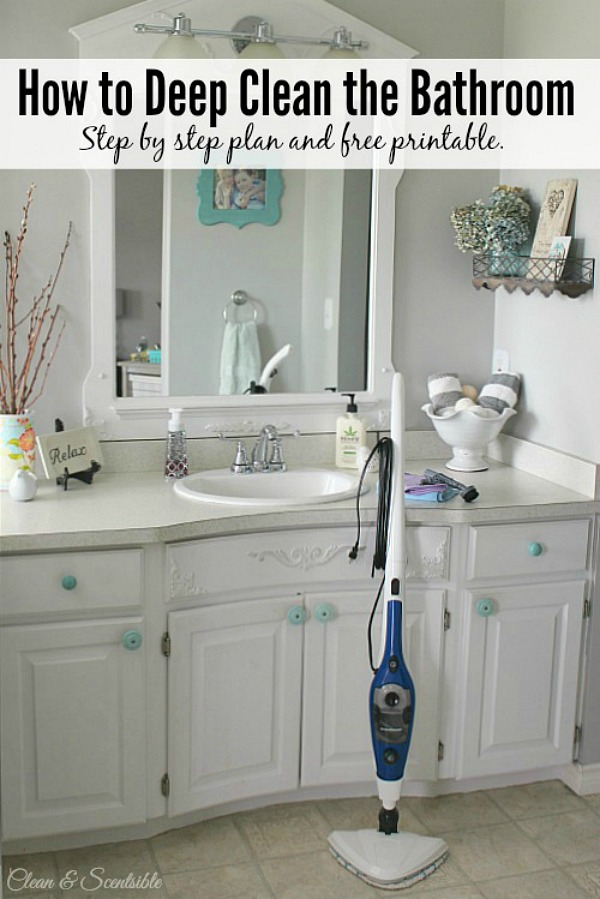 Step by step tutorial to deep clean the bathroom from top to bottom!  Free printable included.