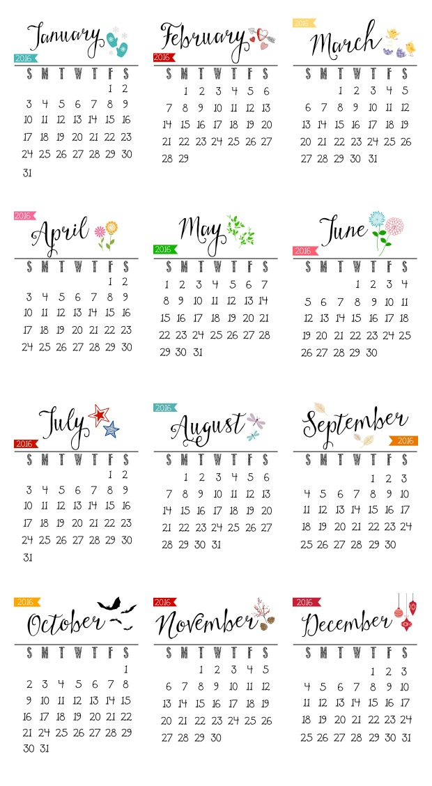 Free 2016 Printable Calendar - Clean And Scentsible