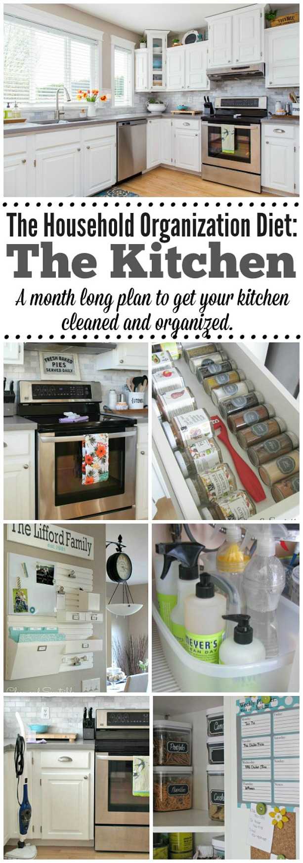 Organize, deep clean, and declutter one room in your house per month. By the end of the year you will have an organized home and an established plan to keep it that way!