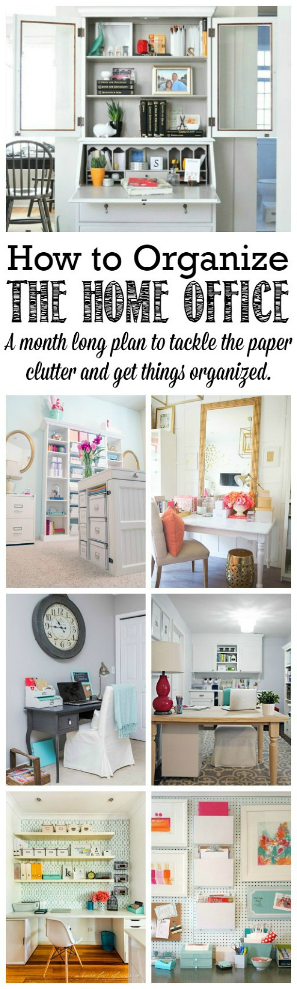 A step by step plan to get your home office {and all of that paperwork!} organized.