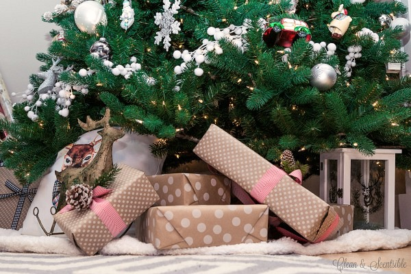 Quick and simple Christmas decorating using presents.