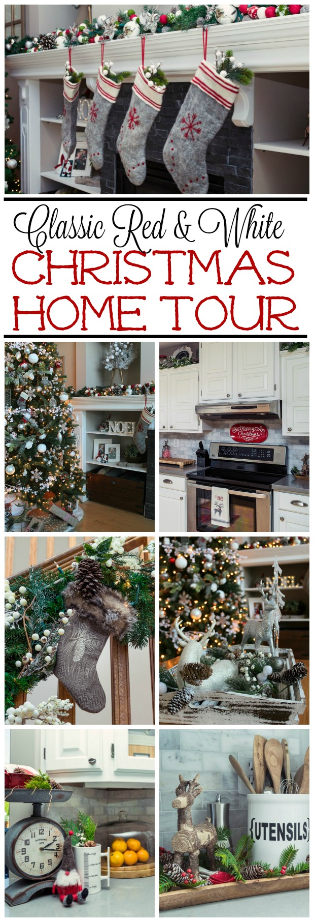 Home Tour In Classic Red And White Lots Of Easy Christmas Decorating