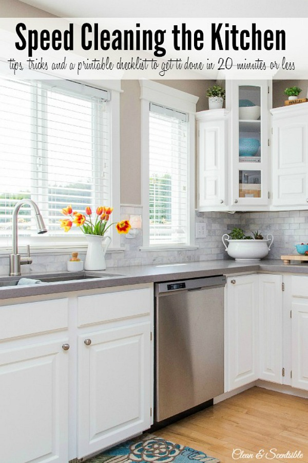 tips to quickly get your kitchen cleaned on a daily basis. Lots of other great home cleaning tips too!