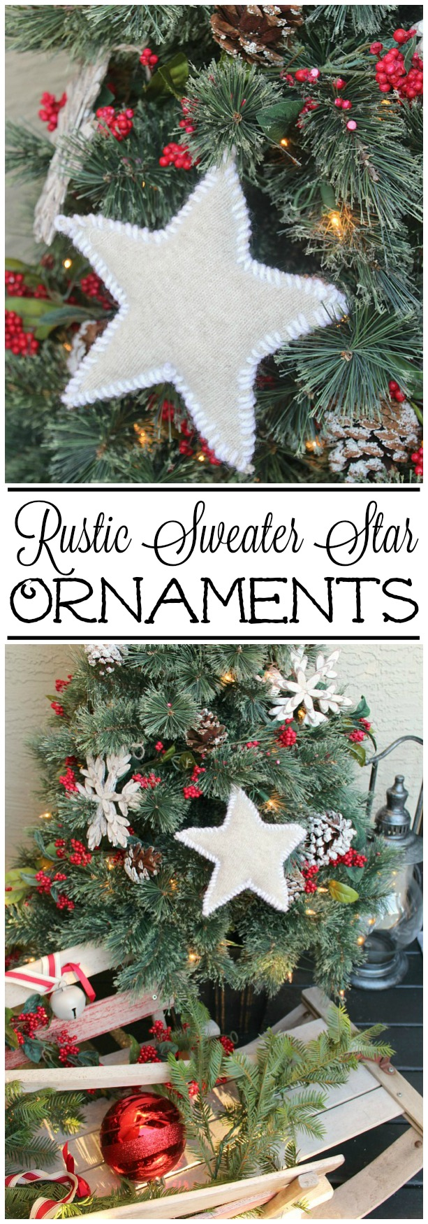 Use some old sweaters to make these cute rustic sweater star ornaments.