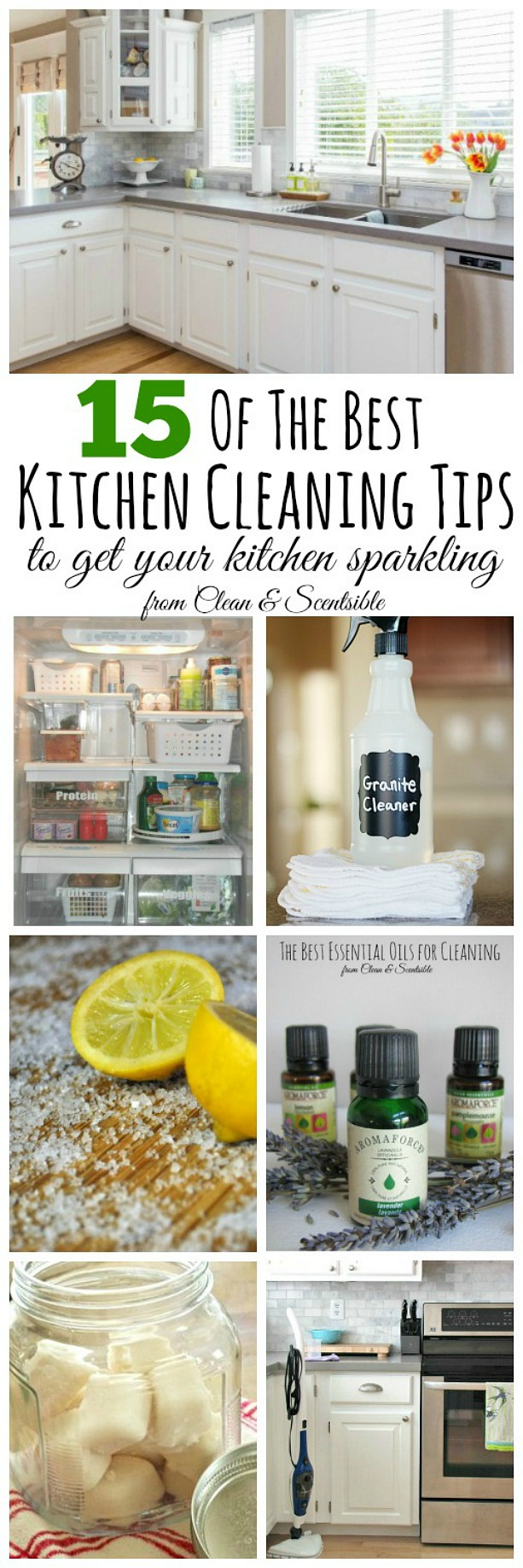 Lots of great kitchen cleaning tips to get it cleaned from top to bottom!