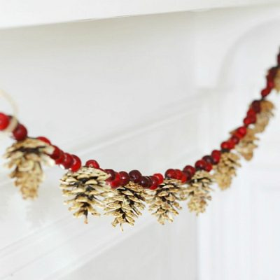 Beautiful rustic bleached pinecone and cranberry garland.