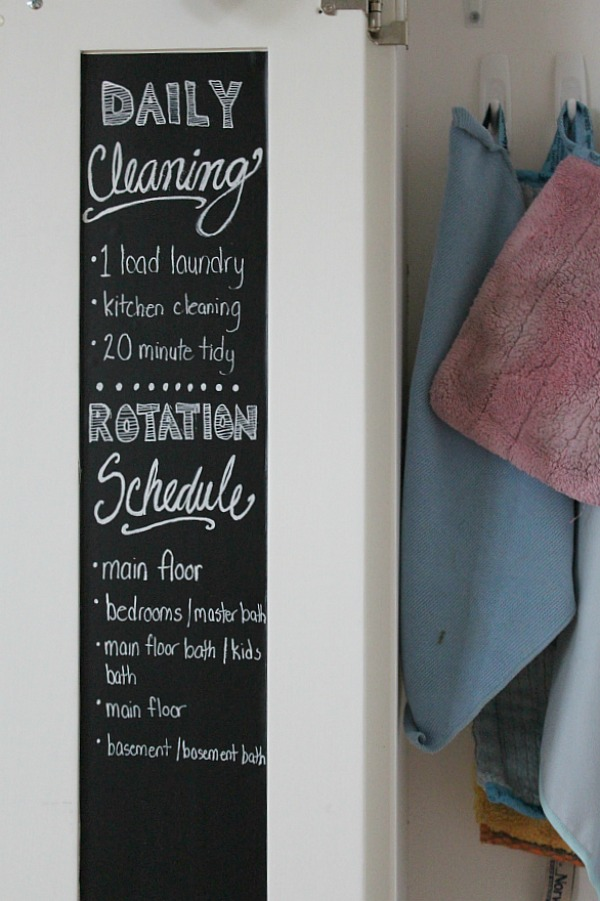 Use vinyl chalkboard on the inside of your cabinet doors to write your cleaning schedule, to-do lists, or grocery lists.
