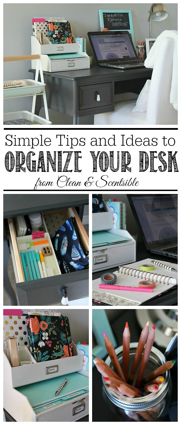 Home office organization april hod clean and scentsible - Organized office desk ...