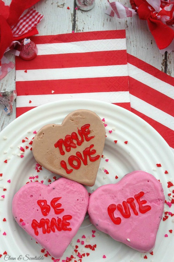 Cute Valentine's Day Love Hearts with ice cream and an Oreo cookie base,