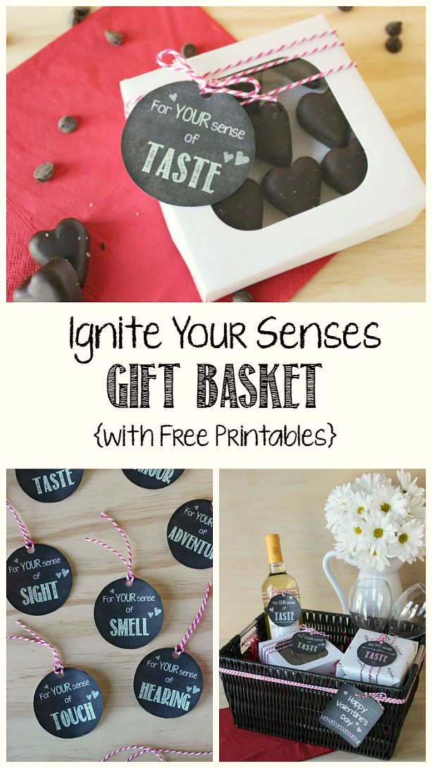 Cute Valentine's Day gift idea - a basket full of favorite items to please all of your senses!