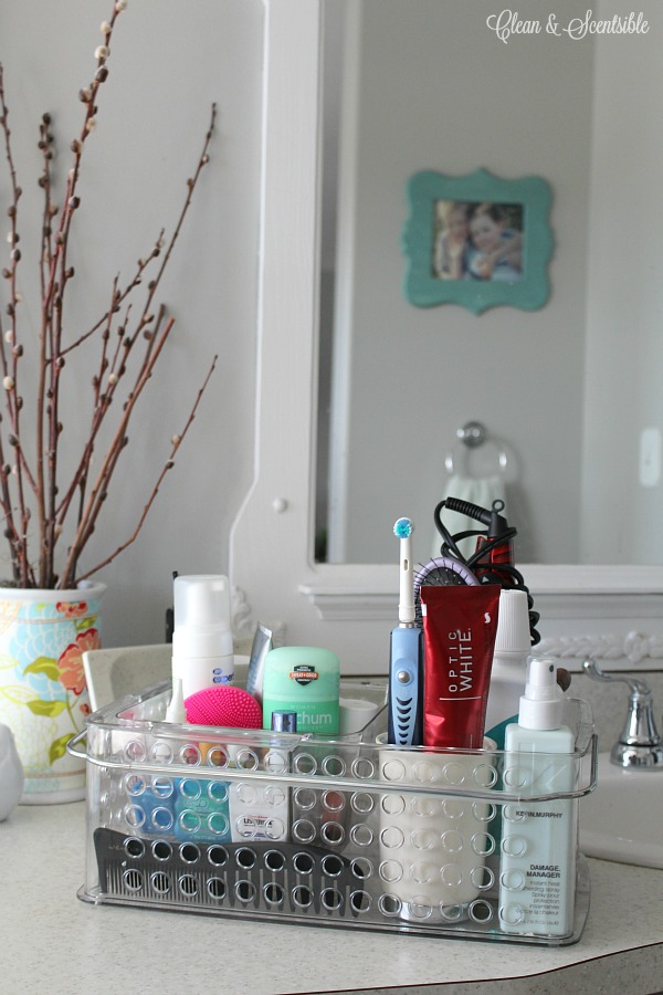 Keep all of your personal care items that you use on a daily basis in one tote or bin. It's easy to see what you need to do, and is quick and easy to clean up!