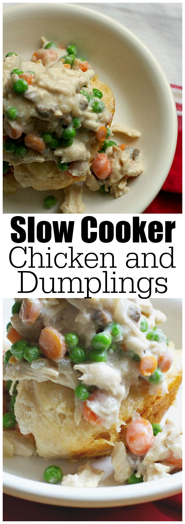 Delicious slow cooker chicken and dumplings. Only a few minutes to prepare - the perfect busy weeknight meal idea!