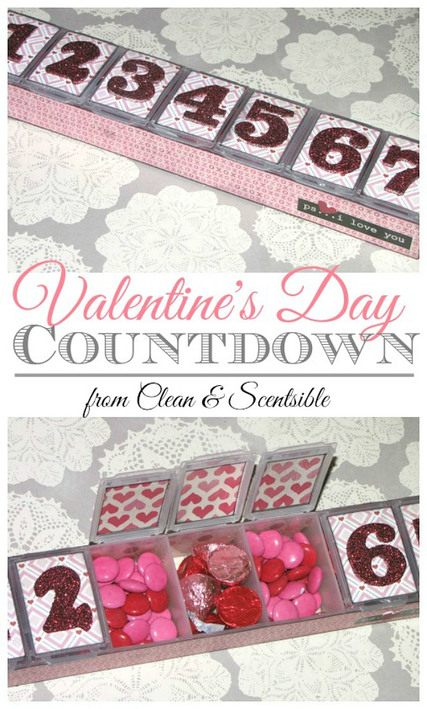 This simple Valentine's Day countdown is so easy to put together! Just fill with your favorite treats for 7 days of love!