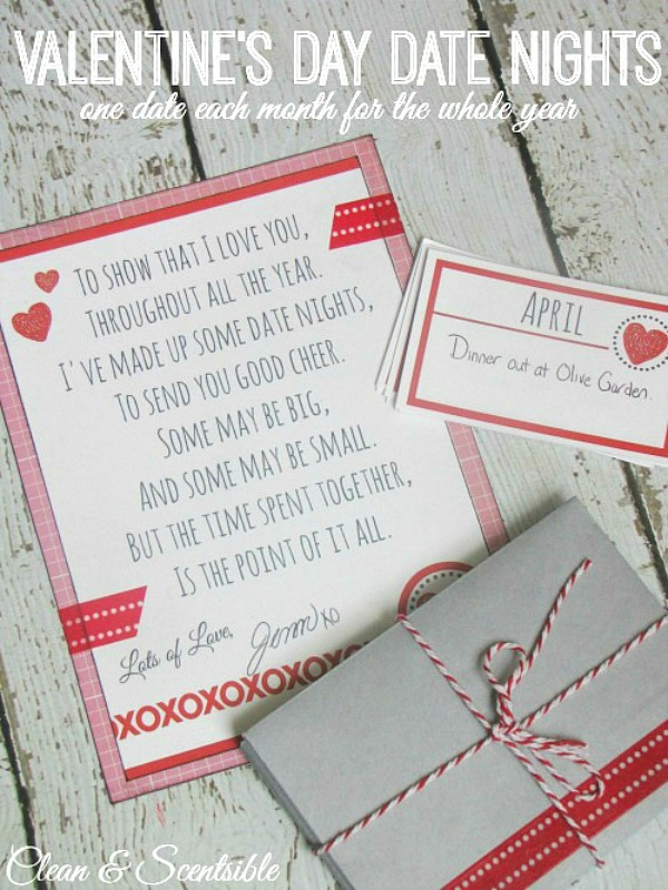 This is such a sweet Valentine's Day gift idea! Put together 12 date nights - one for each month of the year! Free printables included.