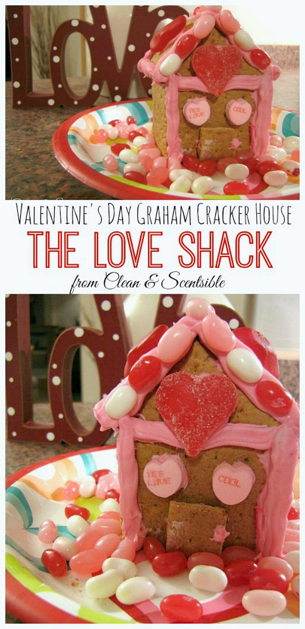 This Valentine's Day graham cracker house would be such a fun project to do with the kids!