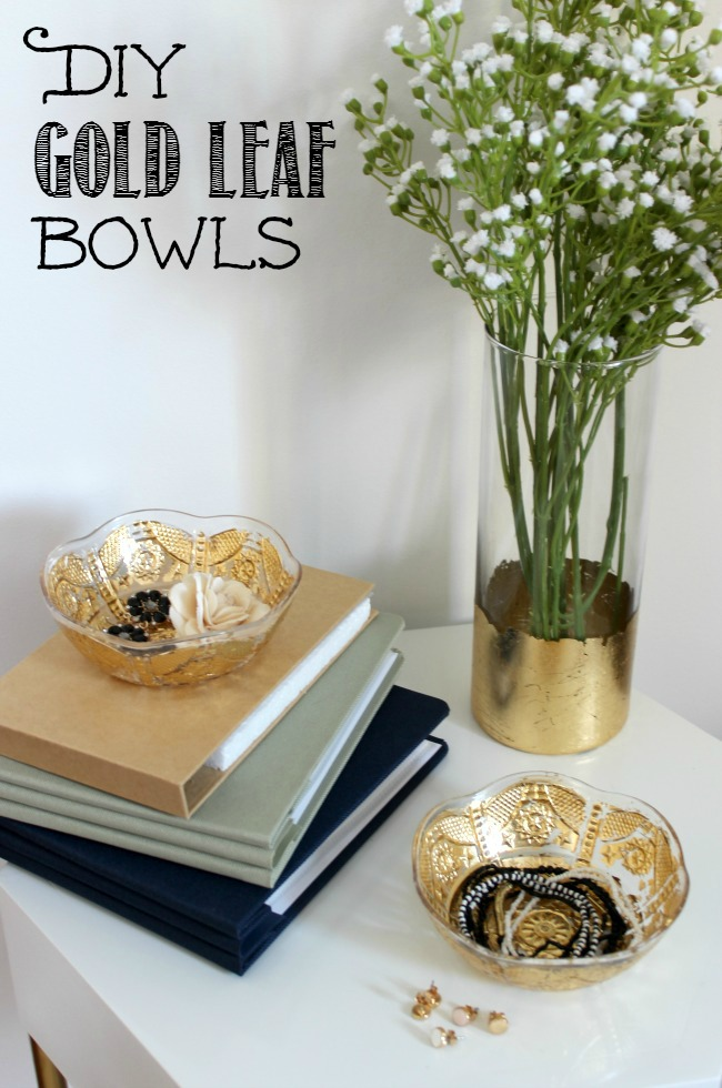 Simple tutorial to learn how to apply gold leaf  to any plastic or glass ware.  Turn dollar store items into beautiful decor pieces!
