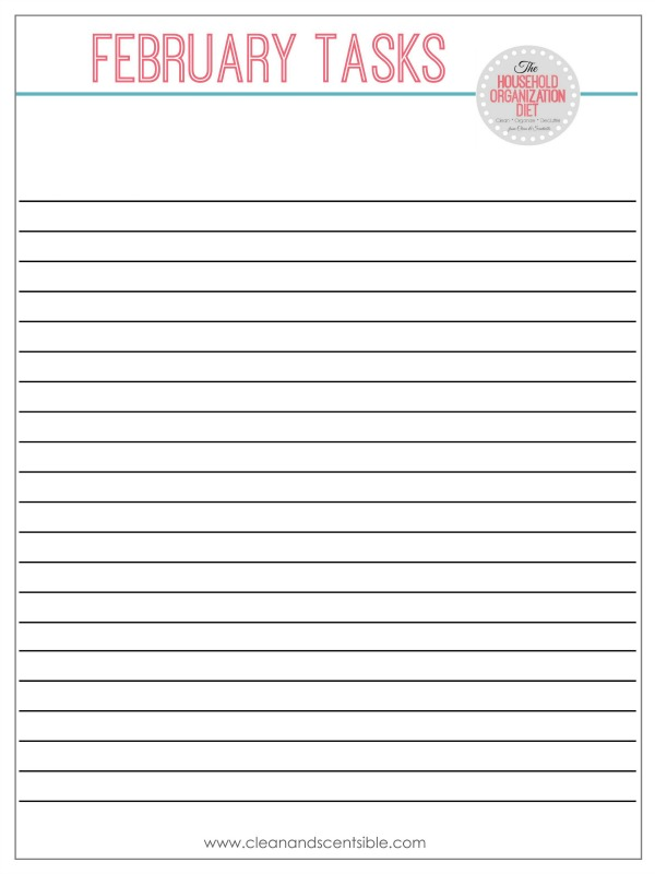 Free printables for the February Household Organization Diet.
