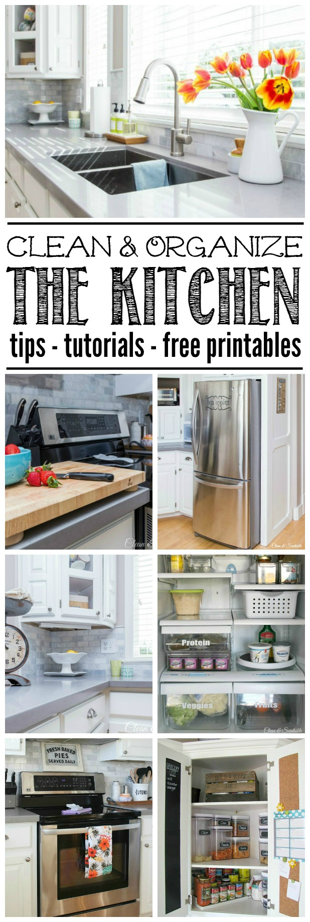 How to clean and organize the kitchen {The February Household Organization Diet} - Everything you need to get your kitchen decluttered, cleaned, and organized! Tips, tutorials, and free printables included.