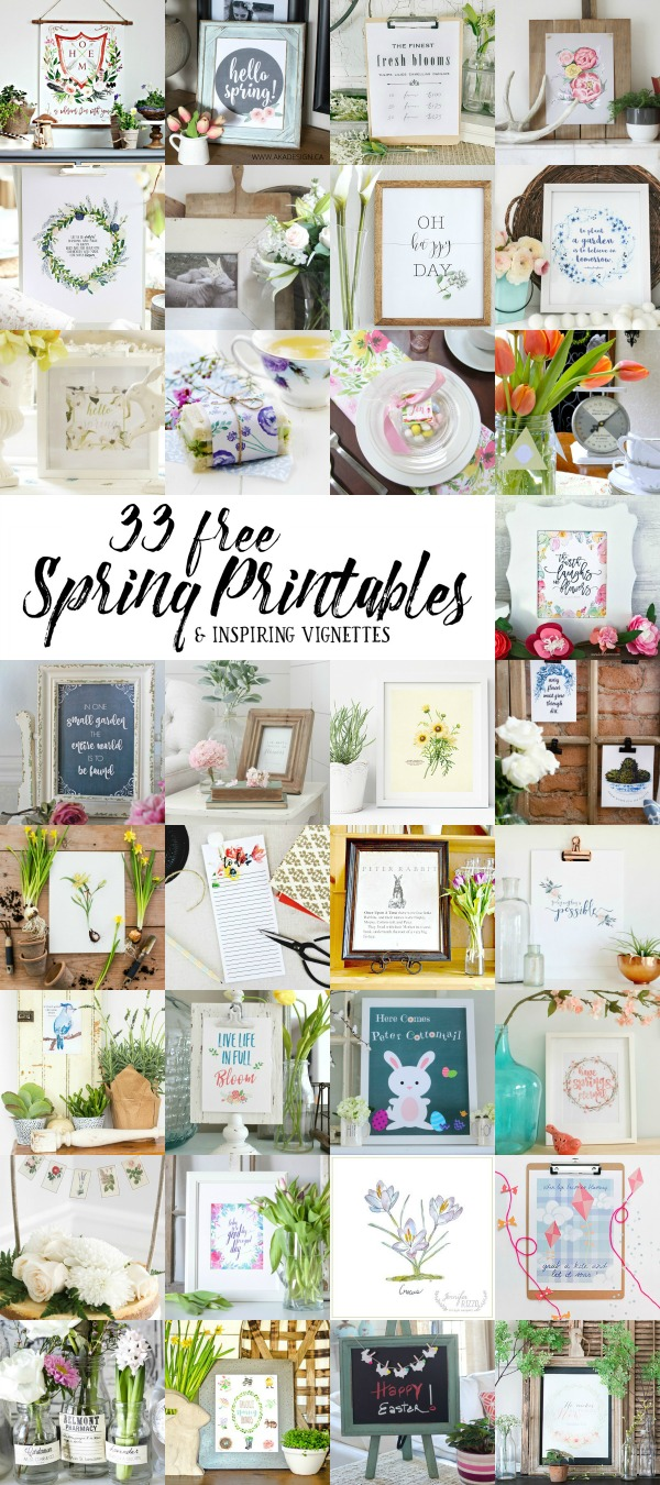 Beautiful collection of free spring printables and spring decorating ideas.
