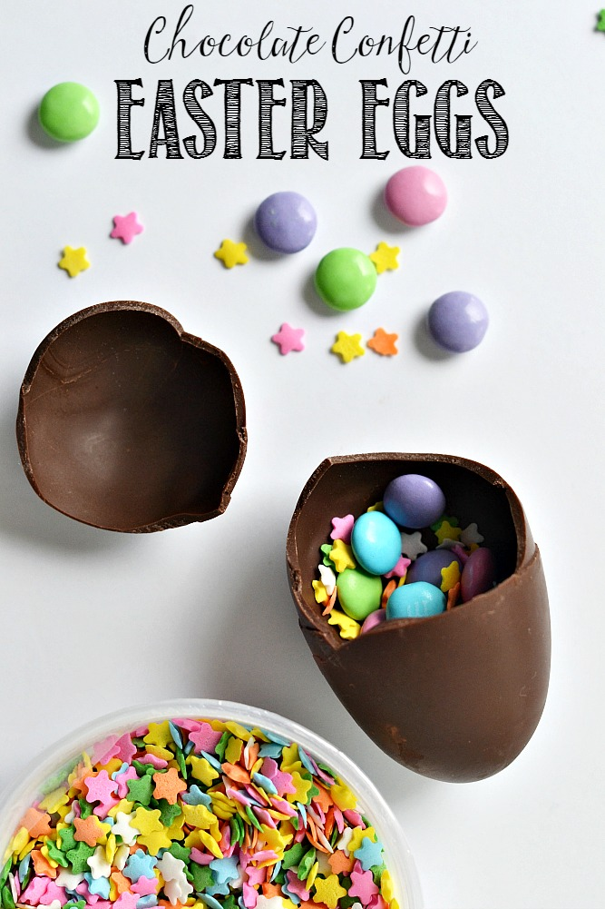 Fun confetti chocolate Easter eggs filled with your favorite Easter treats.