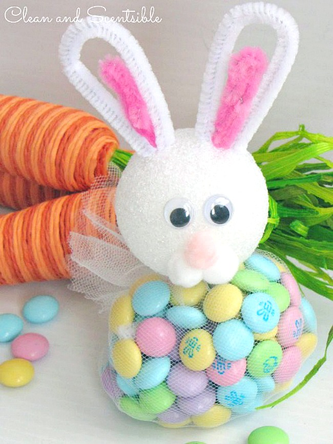 Easter bunny treats using tulle, a styrofoam ball and pipe cleaners.