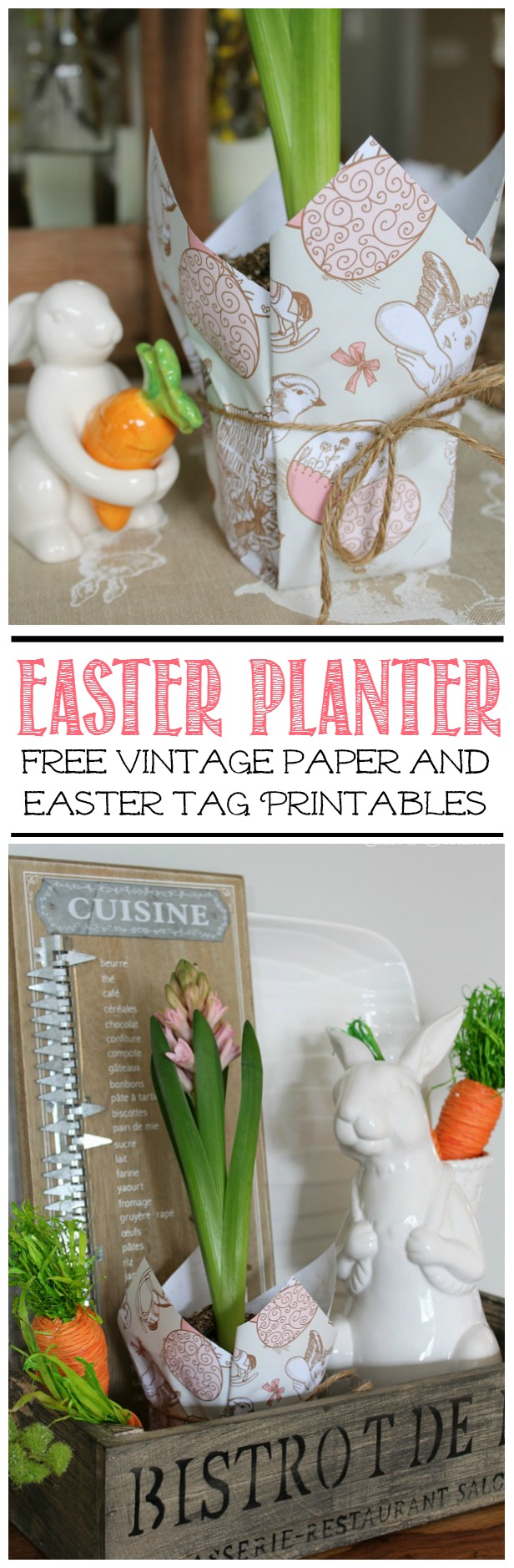 Wrap a flower pot with Eater wrapping paper for inexpensive Easter decor or a cute Easter hostess gift. Free printable vintage inspired paper and Easter gift tags included.