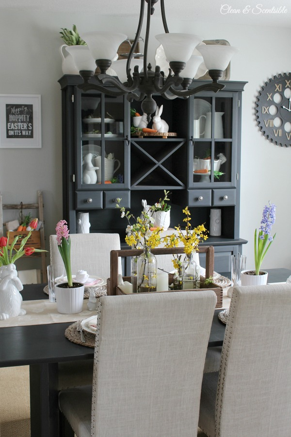 I love this spring dining room and hutch!