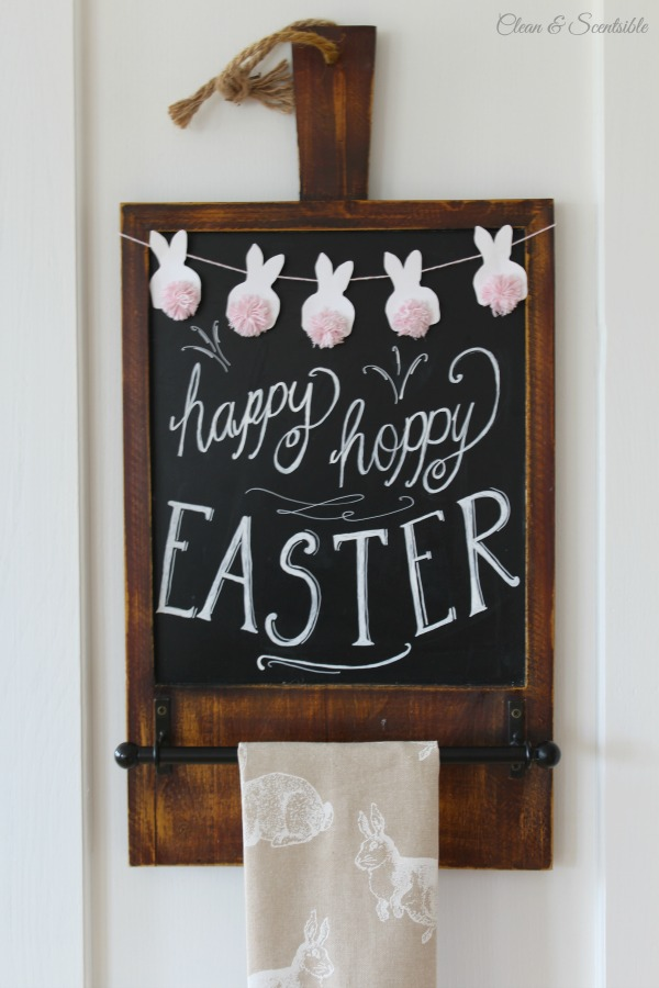 Beautiful spring home tour with lots of simple decor ideas to decorate your home for spring! I love this mini bunny bunting with twine pom pom tails!