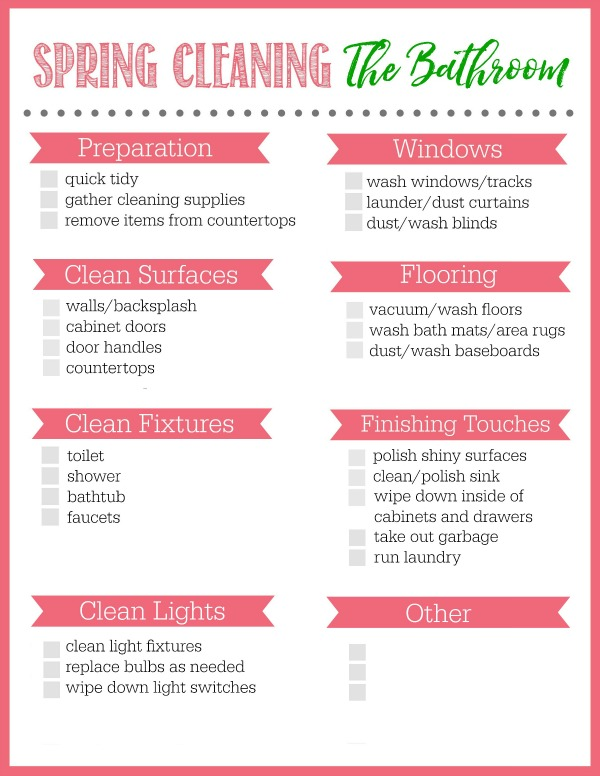 Bathroom spring cleaning checklist clean and scentsible for Bathroom cleaning supplies list