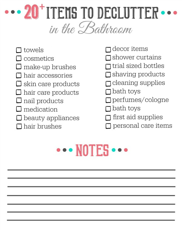 Bathroom Decor Checklist : Things to declutter from the bathroom clean and
