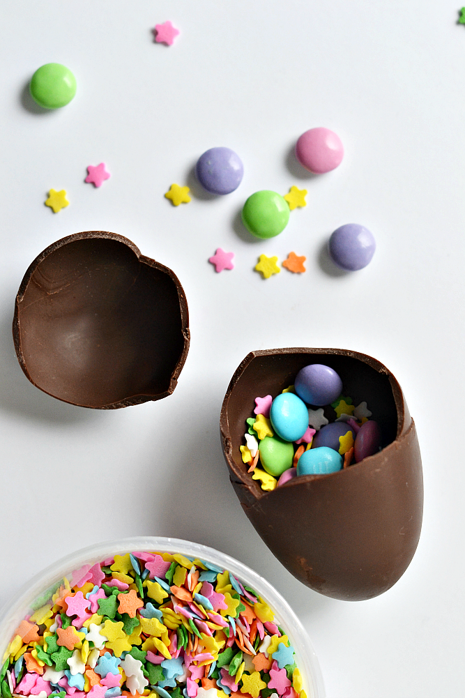 Fun confetti DIY chocolate Easter eggs filled with favorite Easter treats.