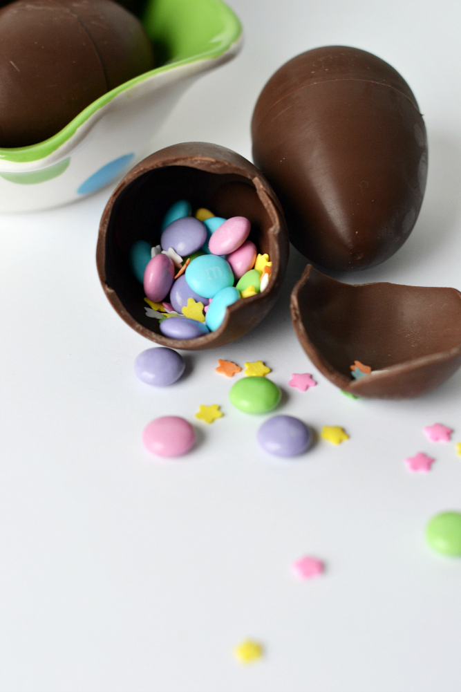 DIY confetti chocolate Easter eggs filled with Easter treats.