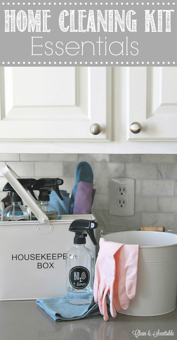 Everything you need to stock a portable home cleaning kit. Having everything organized and ready to go will make it so much quicker and easier to get all of those cleaning tasks done!