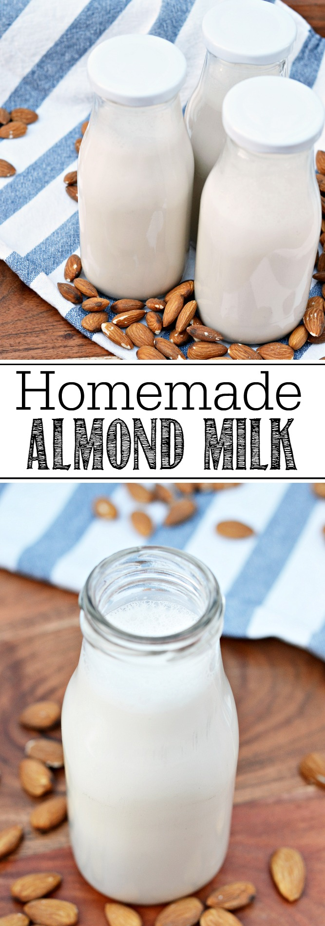 This fresh and creamy almond milk is a tasty alternative to dairy without all of the added ingredients that you would find in the store bought versions. So easy to make!
