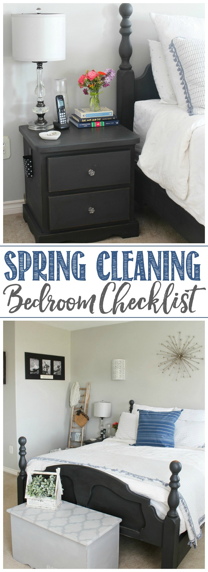 Spring Cleaning Bedroom Checklist. Bedroom with black bed and white bedding.
