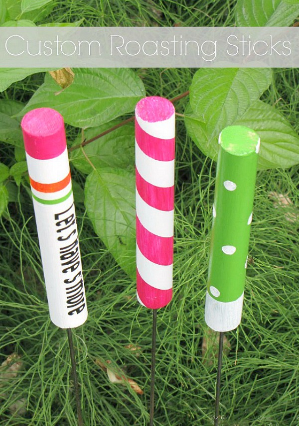 These DIY custom roasting sticks are a fun summer project to do with the kids. Great for camping and backyard firepits!