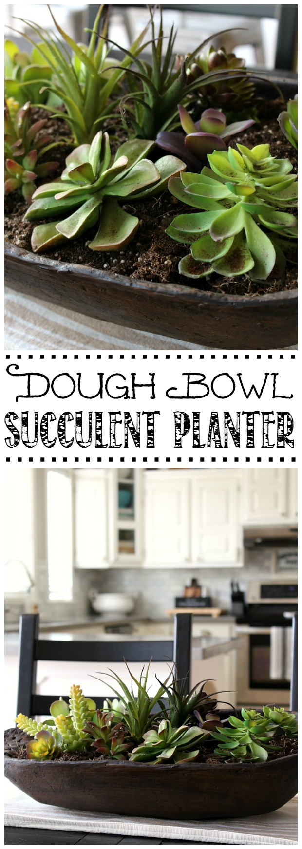 Quick and easy succulent planter in a dough bowl. You can't even tell that these are faux!