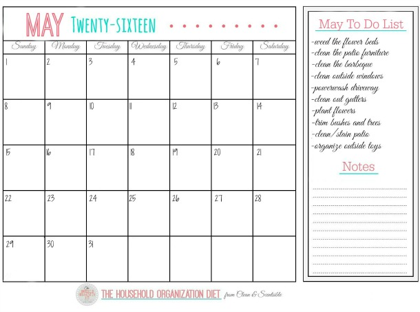 The May Household Organization Diet - Get your outdoor spaces cleaned, organized, and ready for summer! Tons of cleaning tips, easy DIY projects, decor ideas, and free printables included!