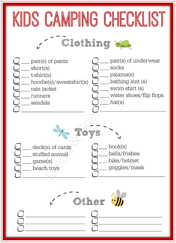 Ues this checklist to help keep track of all the kids items needed for camping or let your older kids use it to pack themselves! One less thing to worry about!