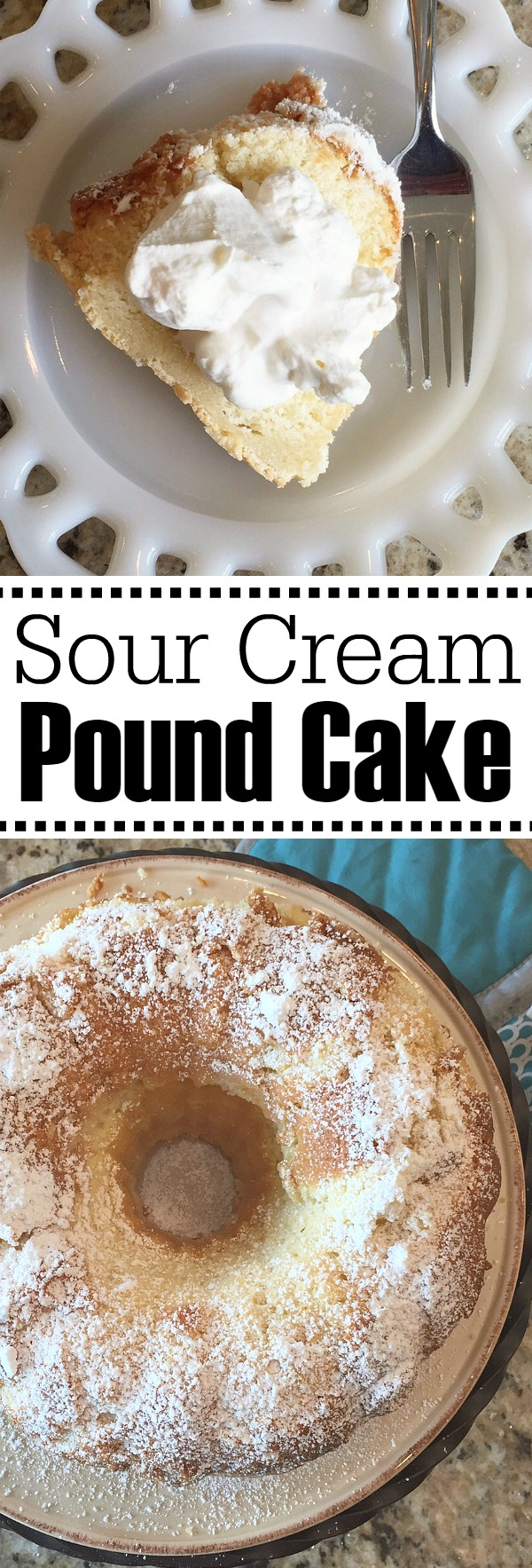 Delicious sour cream pound cake recipe with homemade whipped cream. Must try!